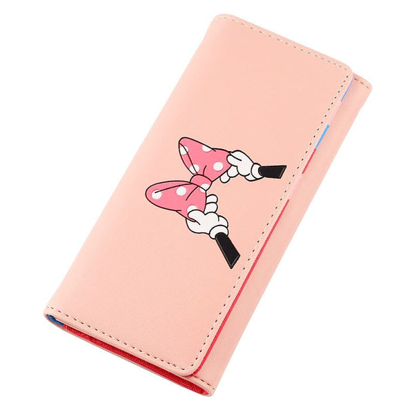 pink - BOTUSI Mickey Bow Lady Purses Handbags Brand Design Women Wallets PU Leather Money Coin Purse Cards ID Holder Cartoon Printing