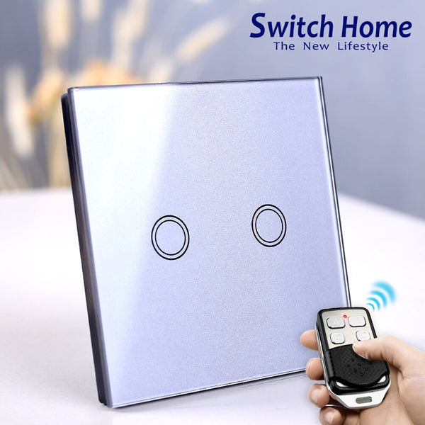 [variant_title] - EU/UK Standard Touch Switch, Wall Light Touch Screen Switch, wireless Remote control Wall touch switch , 2 gang gray AC130~250V