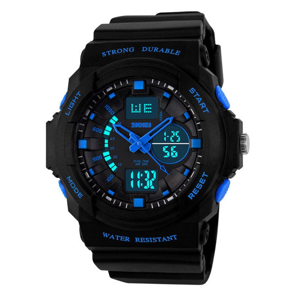 Blue - SKMEI Shock Resistant Watches Waterproof Men Women Kids Outdoor Sport Timing Watch Multifunction Children Fashion Wristwatches