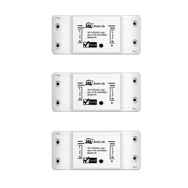 3 PCs - DIY WiFi Smart Light Switch Universal Breaker Timer Wireless Remote Control Works with Alexa Google Home Smart Home 1 Piece