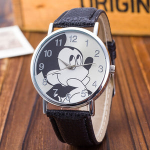 black - New Women Watch Mickey Mouse Pattern Fashion Quartz Watches Casual Cartoon Leather Clock Girls Kids Wristwatch Relogio Feminino