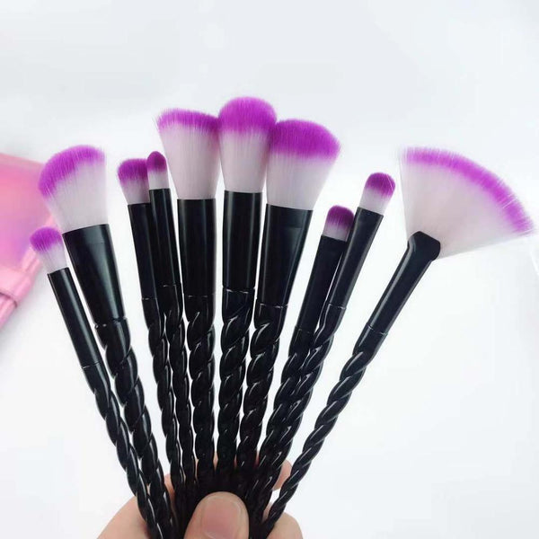 Red - 10pcs Unicorn Makeup Brush Set Foundation Powder Eye shadow Make Up Brushes Beauty Makeup Cosmetic Tools pincel maquiagem