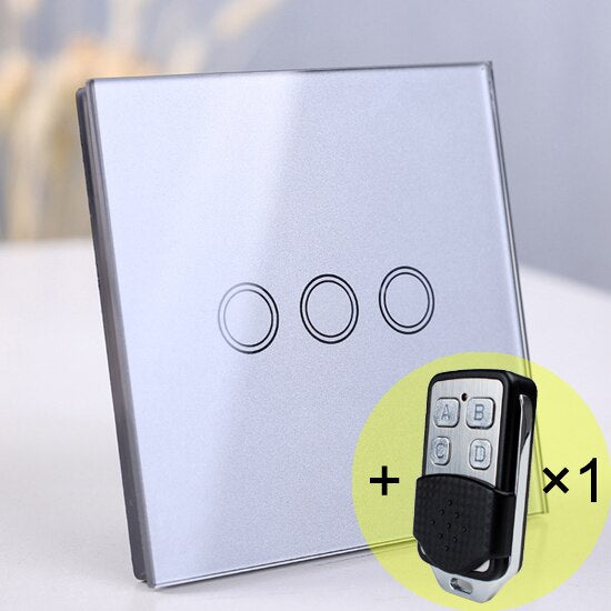 3 gang Gray Remote - EU/UK Standard Touch Switch, Wall Light Touch Screen Switch, wireless Remote control Wall touch switch , 2 gang gray AC130~250V