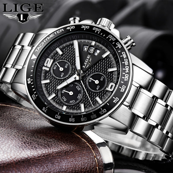 [variant_title] - 2018 New LIGE Mens Watches Top Brand Luxury Stopwatch Sport waterproof Quartz Watch Man Fashion Business Clock relogio masculino