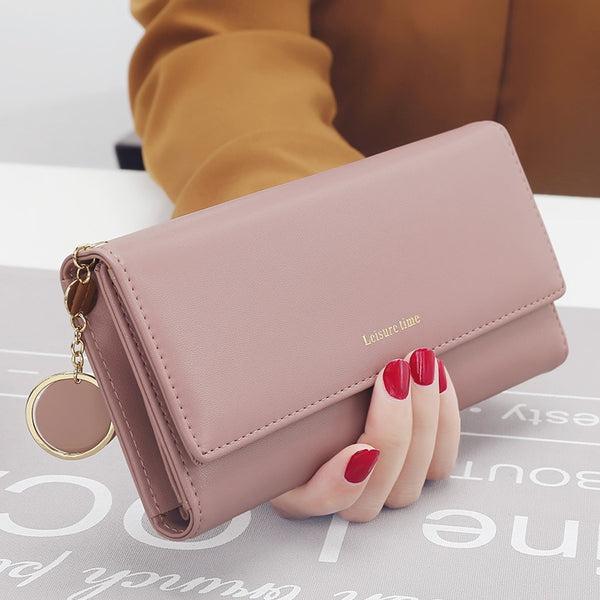 Pink - New Fashion Women Wallets Long Style Multi-functional wallet Purse Fresh PU leather Female Clutch Card Holder