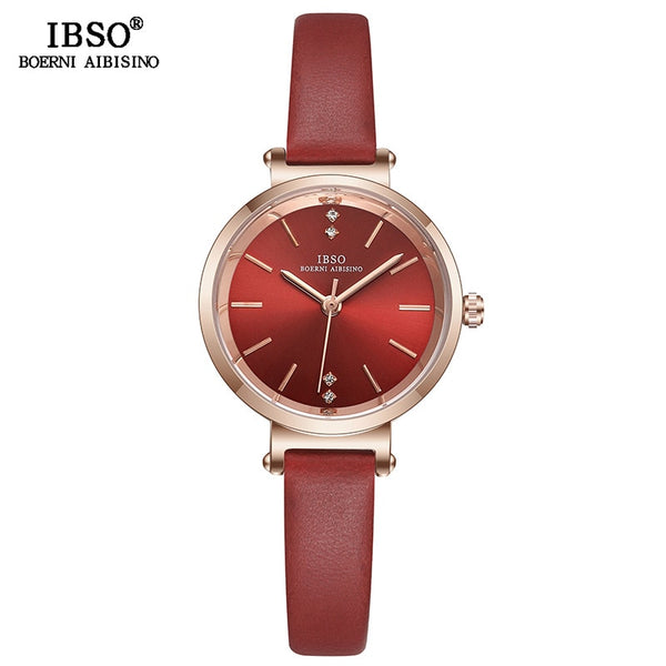 Red - IBSO 8 MM Ultra-Thin Wrist Women Watches Luxury Female Clock Fashion Montre Femme 2019 Quartz Ladies Watch Relogio Feminino