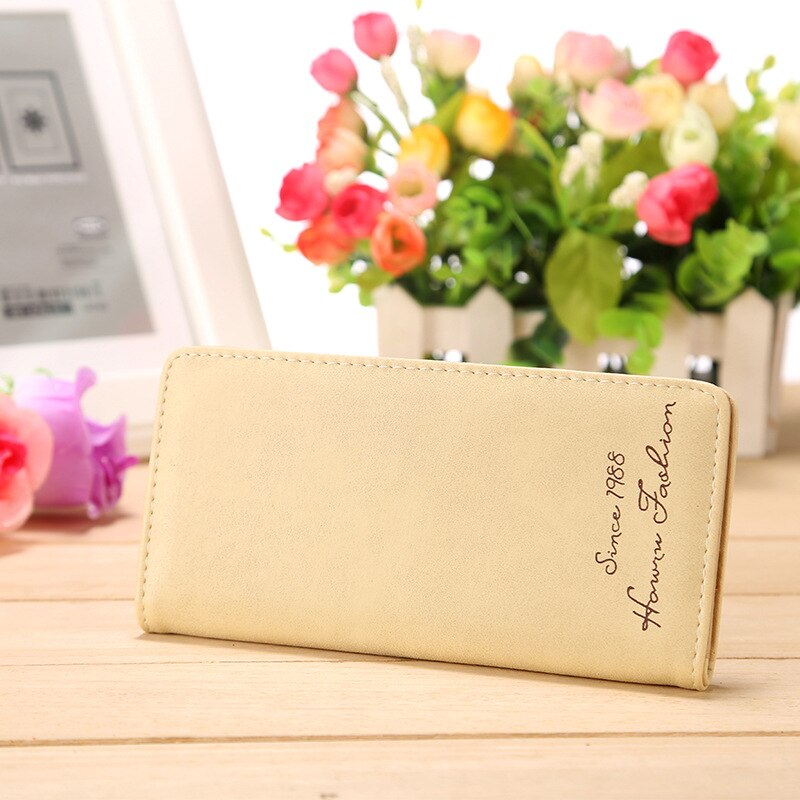 Beige - Minimalist Designer Slim Long Bifold Women Wallet Female Clutch Leather Brand Coin Purse Ladies Card Holder Money Dollar Cuzdan