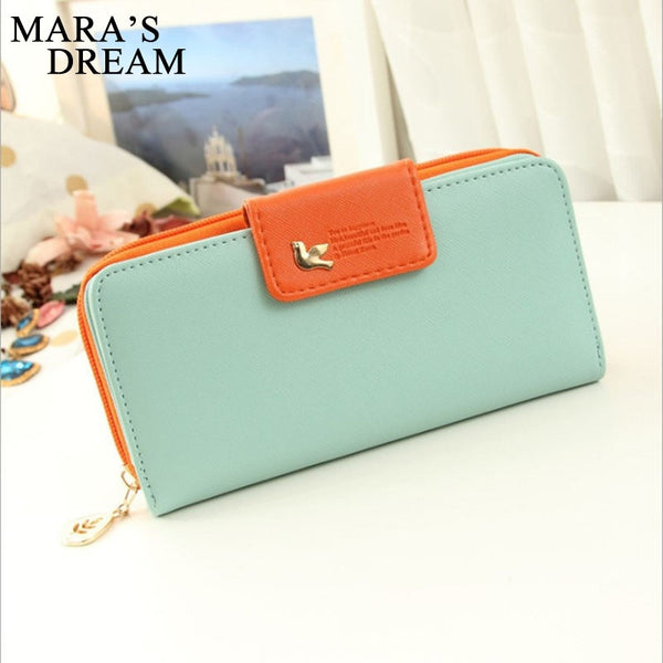 [variant_title] - Mara's Dream Women Leather Wallet Women's Clutch Bag Hasp Wallet Zipper Long Purses Card Holder High Quality Bolsa Feminina