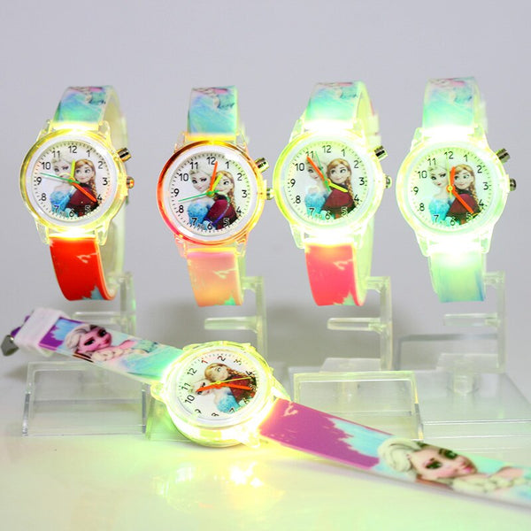 [variant_title] - Princess Elsa Children Watches Spiderman Colorful Light Source Boys Watch Girls Kids Party Gift Clock Wrist Relogio Feminino