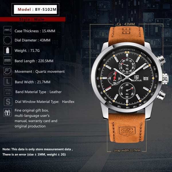 [variant_title] - BENYAR Fashion Chronograph Sport Mens Watches Top Brand Luxury Quartz Watch Reloj Hombre saat Clock Male hour relogio Masculino