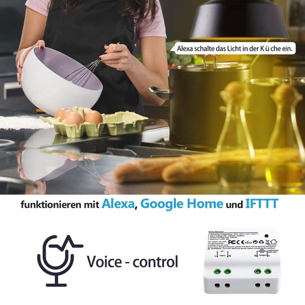 [variant_title] - Tuya Smart Life WiFi Light Switch Alexa Echo, Google Home Voice Control, 10A, App Remote Control Lights, Set Timer for Lamps