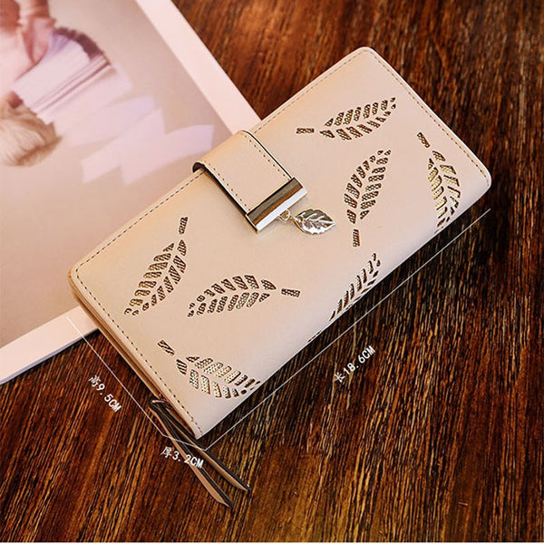 C Apricot - Mara's Dream 2019 Brand Leaves Hollow Women Wallet Soft PU Leather Women's Clutch Wallet Female Designer Wallets Coin Card Purse