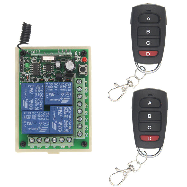 2 / 12V / 315 MHz - DC 12V 24V 4 Channel 4CH RF Wireless Remote Control Switch System Receiver + Transmitter, 315 433 MHz