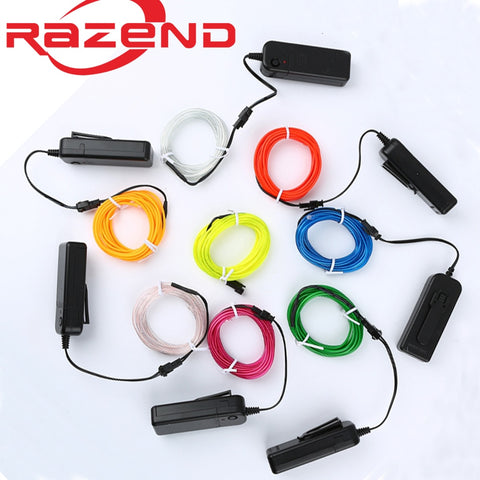 [variant_title] - 1m/3m/5M 3V Flexible Neon Light Glow EL Wire Rope tape Cable Strip LED Neon Lights Shoes Clothing Car waterproof led strip New