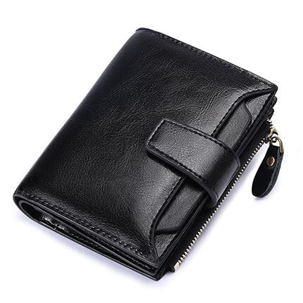 Black - SENDEFN Women's Wallet Leather Small Luxury Brand Wallet Women Short Zipper Ladies Coin Purse Card Holder Femme Red/Blue 5191-69