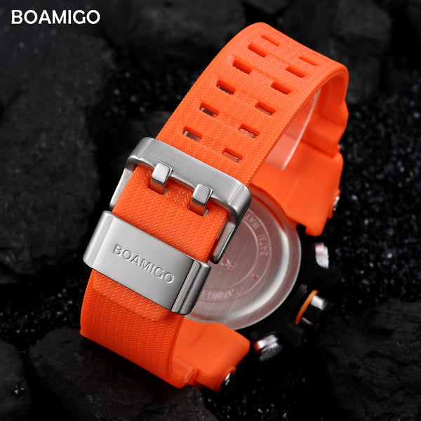 [variant_title] - Men Sports Watches BOAMIGO Brand Digital LED Orange Shock Swim Quartz Rubber Wristwatches Waterproof Clock Relogio Masculino