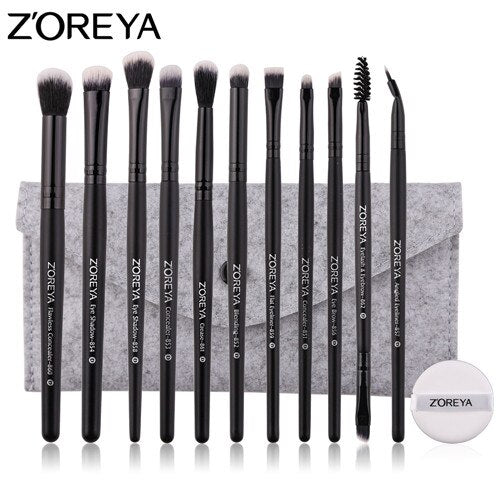 11pcs brush with bag - ZOREYA Makeup Brushes 4/8/10/11/12/15pcs Professional Makeup Brush Set Many Different Model As Essential Cosmetics Tool