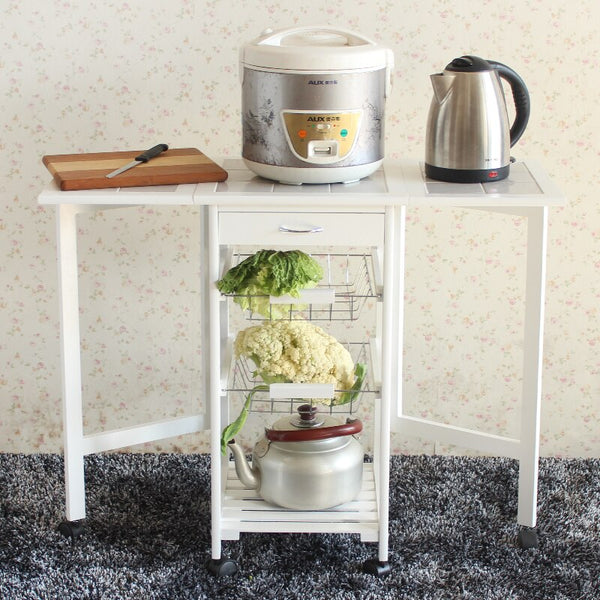 [variant_title] - Portable Folding Kitchen Rolling Tile Top Drop Leaf Storage Trolley Cart White
