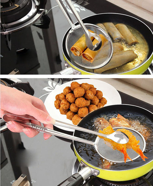 [variant_title] - New Multi-functional Filter Spoon With Clip Food Kitchen Oil-Frying BBQ Filter Stainless Steel Clamp Strainer Kitchen Tools