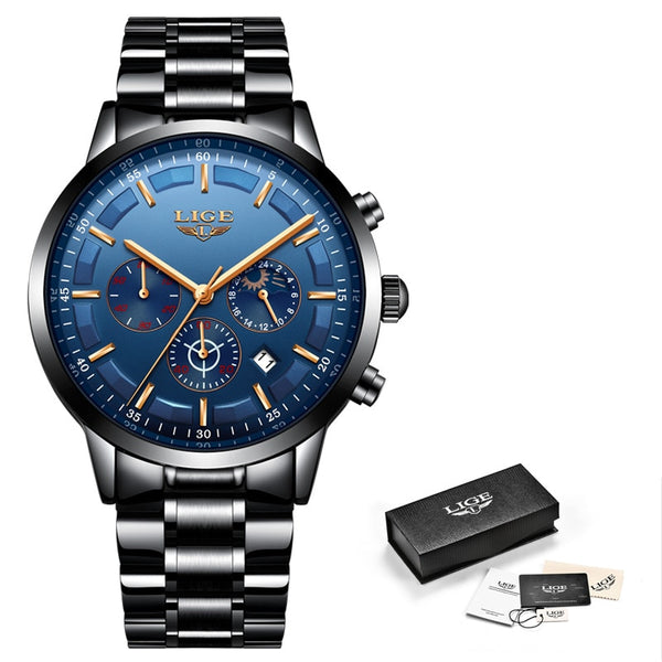 Black Rose Blue - Relojes 2018 Watch Men LIGE Fashion Sport Quartz Clock Mens Watches Top Brand Luxury Business Waterproof Watch Relogio Masculino