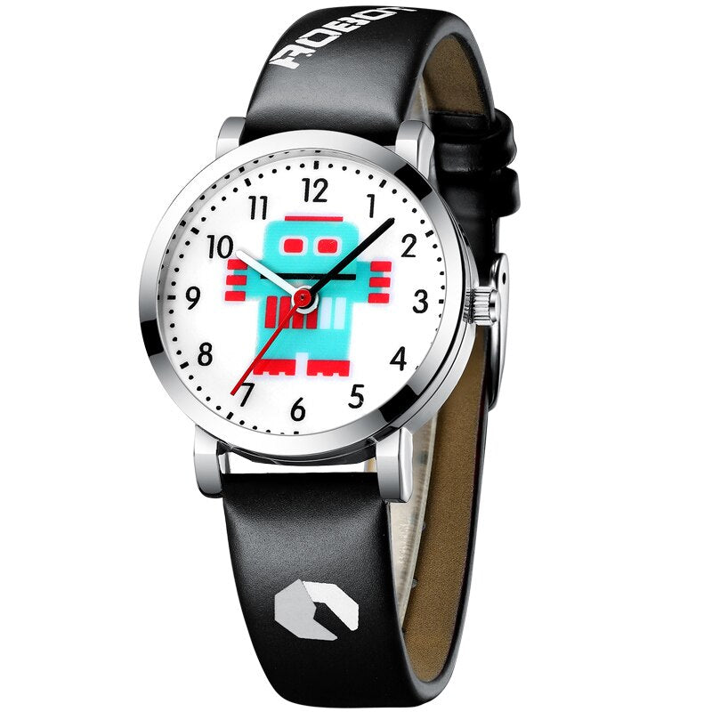 black - KDM Cartoon Watches Kid Girls Waterproof Leather Straps Sport Wristwatch Children Quartz Watch Fashion Cute Clock Montre Enfant