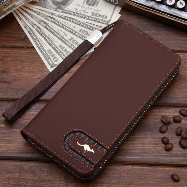 Coffee A - New Men Leather Wallet High Quality Zipper Wallets Men Long Purse Male Clutch Phone Bag Wristlet Coin Purse Card Holder MWS184