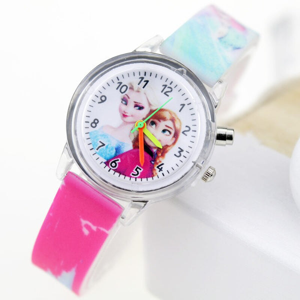 Girl Rose Flash - Princess Elsa Children Watches Spiderman Colorful Light Source Boys Watch Girls Kids Party Gift Clock Wrist Relogio Feminino