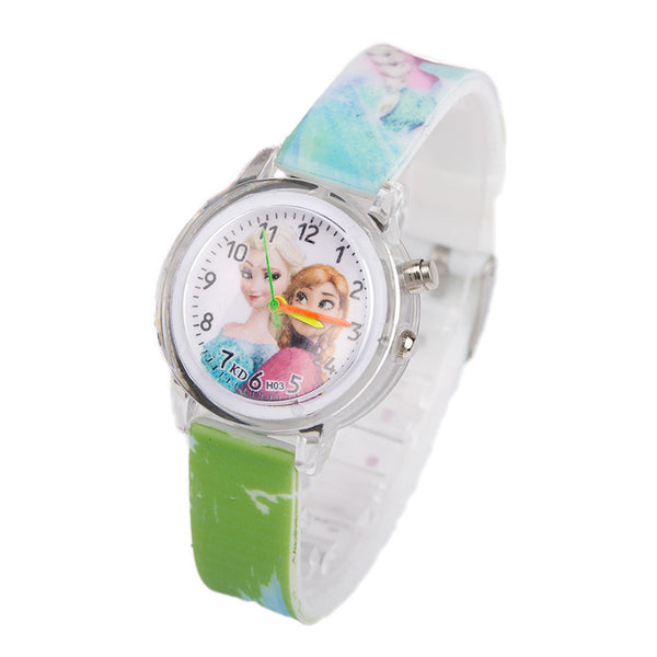 Flash Green - Princess Elsa Children Watches Electronic Colorful Light Source Child Watch Girls Birthday Party Kids Gift Clock Childrens Wrist