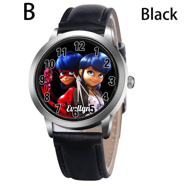 B-BLACK - New arrive Miraculous Ladybug Watches Children Kids gift Watch Casual Quartz Wristwatch fashion leather watch Relogio Relojes