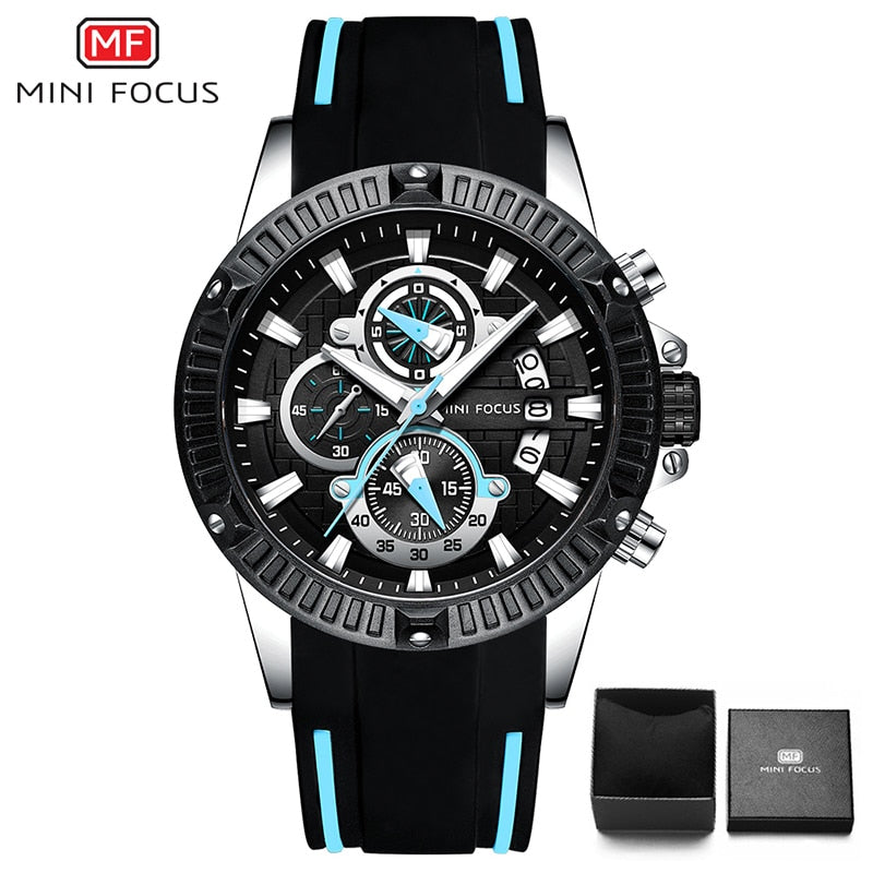 black Light blue - MINIFOCUS Fashion Men's Wristwatch Quartz Watch Men Waterproof Silicone Sport Wrist Watches Men Luxury Brand Relogio Masculino