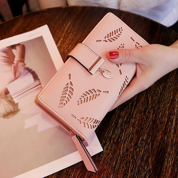 E Pink - Mara's Dream 2019 Brand Leaves Hollow Women Wallet Soft PU Leather Women's Clutch Wallet Female Designer Wallets Coin Card Purse