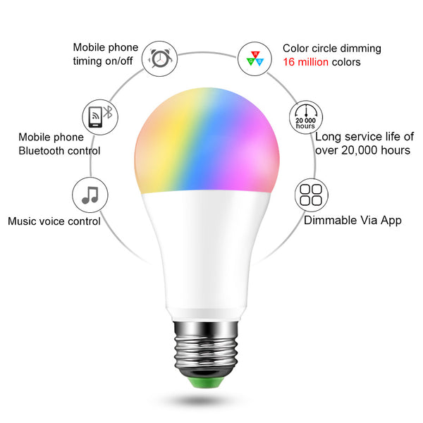 [variant_title] - Smart Bulb E27 B22 LED Wireless Bluetooth4.0 Dimmable 15W RGB Bulb Google Home APP Control Multicolored Changing Night Light