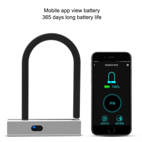 [variant_title] - Smart Bluetooth APP Door lock U shape Lock for Store Company Glass Double Door Anti-theft APP Remote Control U-shaped locks
