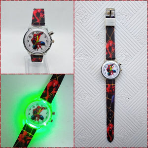 Black - Flashing light Spiderman children watch high quality kids watches child luminous boys girls clock printing silicone belt table