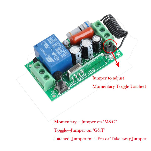 [variant_title] - Wireless Remote Control Light Switch 10A Relay Output Radio 220V 1 Channel Receiver Module + 50-500M Transmitter