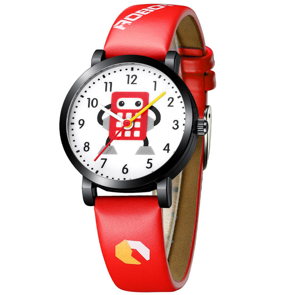 red - KDM Cartoon Watches Kid Girls Waterproof Leather Straps Sport Wristwatch Children Quartz Watch Fashion Cute Clock Montre Enfant