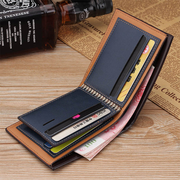 [variant_title] - PU Leather Men Wallet Money Bag Credit Card Holders Dollar Bill Wallet Clutch Purse For Boy Use Vintage Purses Wallets Men Walet