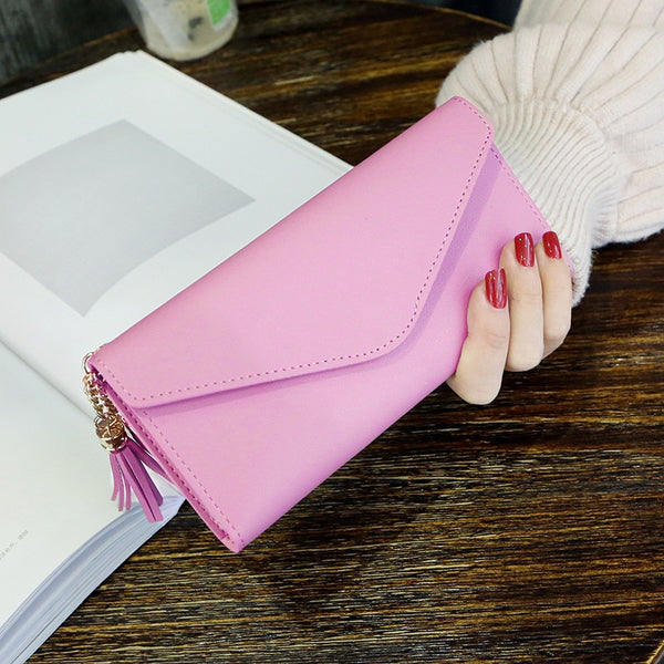 CherryPink - Long Wallet Women Purses Tassel Fashion Coin Purse Card Holder Wallets Female High Quality Clutch Money Bag PU Leather Wallet