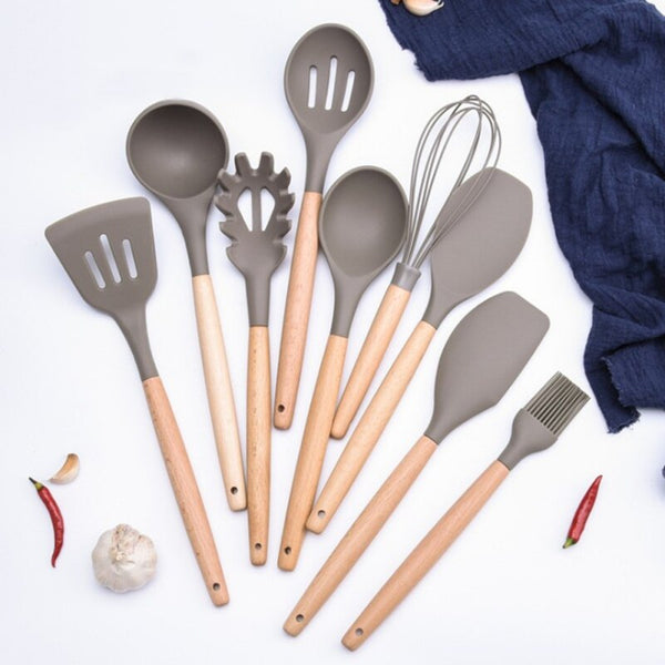 [variant_title] - Wood handle Cooking Tools  Silicone Kitchen Utensils Gadgets Kitchenware Set Spatula Shovel Spoon Home Kitchen Tools