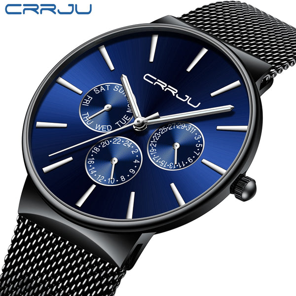 [variant_title] - reloj hombre 2019 CRRJU Top Brand Luxury Men Watches Waterproof Ultra Thin Date Wrist Watch Male Mesh Strap Casual Quartz Clock