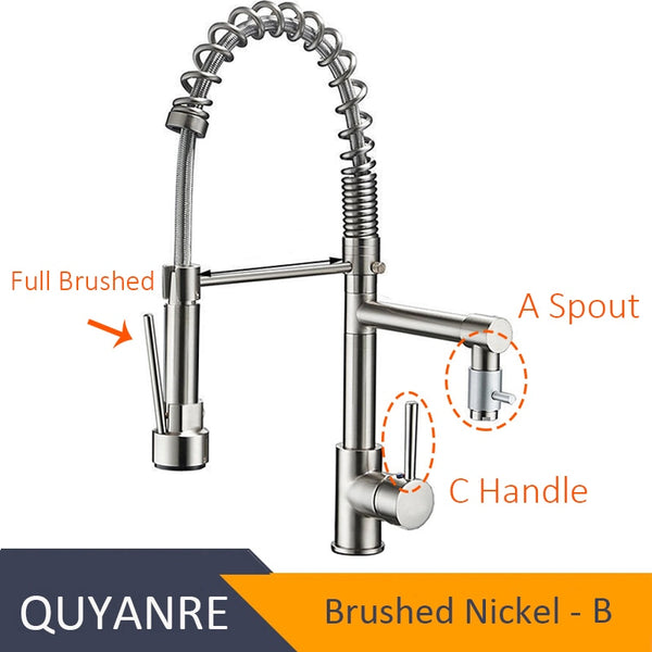 NICKEL QUANLASI - Blackend Spring Kitchen Faucet Pull out Side Sprayer Dual Spout Single Handle Mixer Tap Sink Faucet 360 Rotation Kitchen Faucets