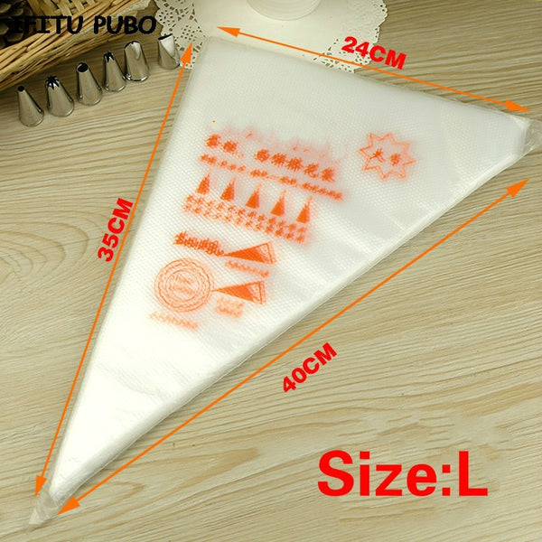 [variant_title] - 50PCS Small/Large Size Disposable Piping Bag Icing Fondant Cake Cream bag Decorating Pastry Tip Tool GYH