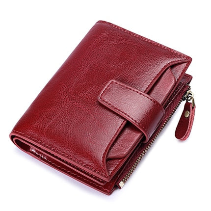 Wine Red - SENDEFN Women's Wallet Leather Small Luxury Brand Wallet Women Short Zipper Ladies Coin Purse Card Holder Femme Red/Blue 5191-69