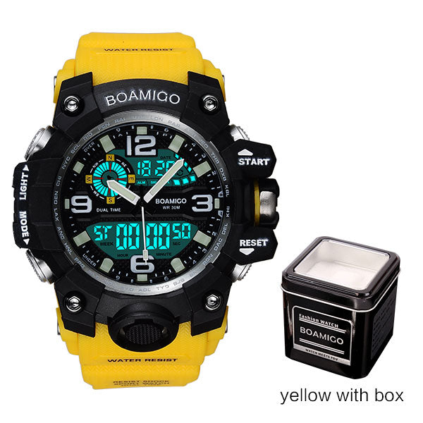 yellow with box - Men Sports Watches BOAMIGO Brand Digital LED Orange Shock Swim Quartz Rubber Wristwatches Waterproof Clock Relogio Masculino