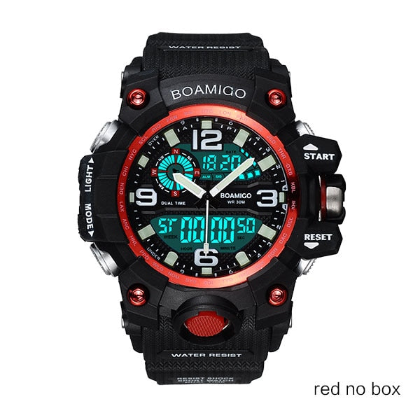 red no box - Men Sports Watches BOAMIGO Brand Digital LED Orange Shock Swim Quartz Rubber Wristwatches Waterproof Clock Relogio Masculino