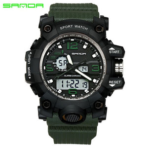 ArmyGreen - SANDA top luxury brand G style men's military sports watch LED digital watch waterproof men's watch Relogio Masculino
