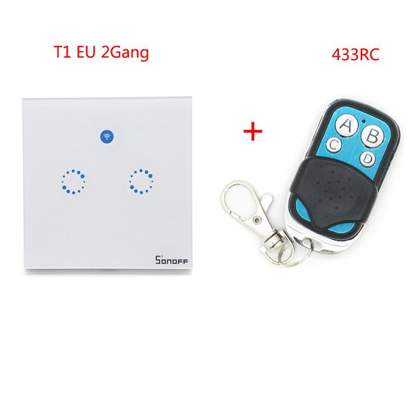 T1 2Gang with RC - Sonoff T1 EU Smart Wifi Wall Touch Light Switch 1/2 Gang Touch / WiFi / 433 RF / APP Remote Control Smart Home Work with Google