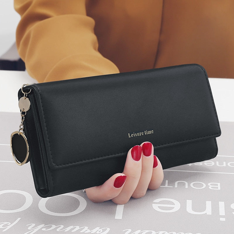 Black - New Fashion Women Wallets Long Style Multi-functional wallet Purse Fresh PU leather Female Clutch Card Holder