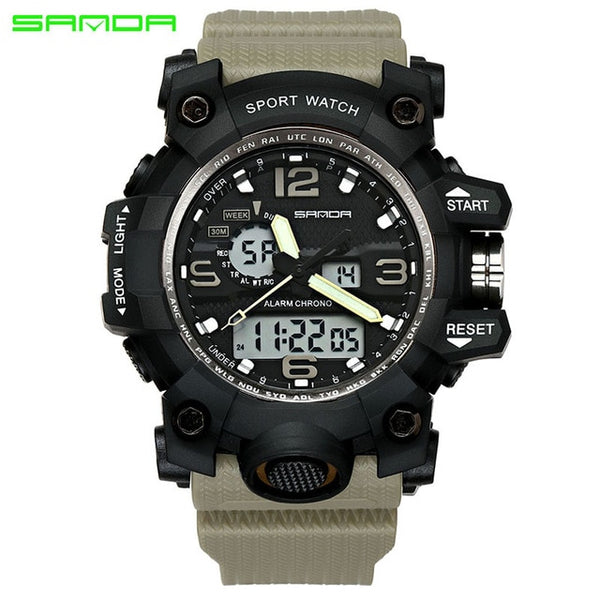 Khaki - SANDA top luxury brand G style men's military sports watch LED digital watch waterproof men's watch Relogio Masculino