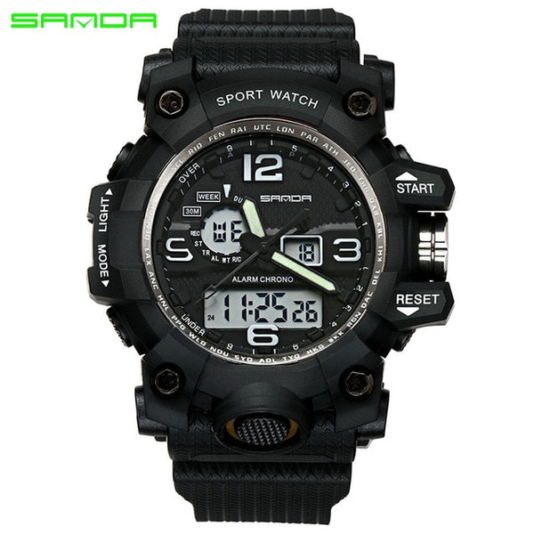 black - SANDA top luxury brand G style men's military sports watch LED digital watch waterproof men's watch Relogio Masculino